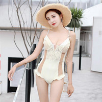2019 New Black White Swimming Suit Sexy Solid Lace Print Sandy Beach Double Shoulder Strap One pieces Low Chest Bandage Swimsuit