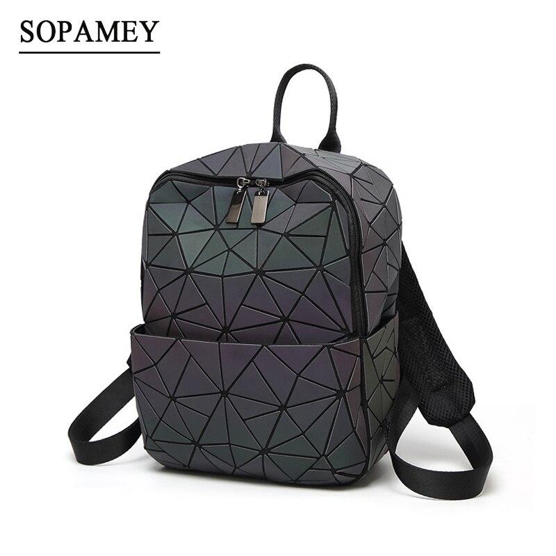 Nuevas mujeres mochila geométrica del bolso de hombro del estudiante escuela bolsa para adolescentes holograma mochilas luminosas láser bao bab mochila