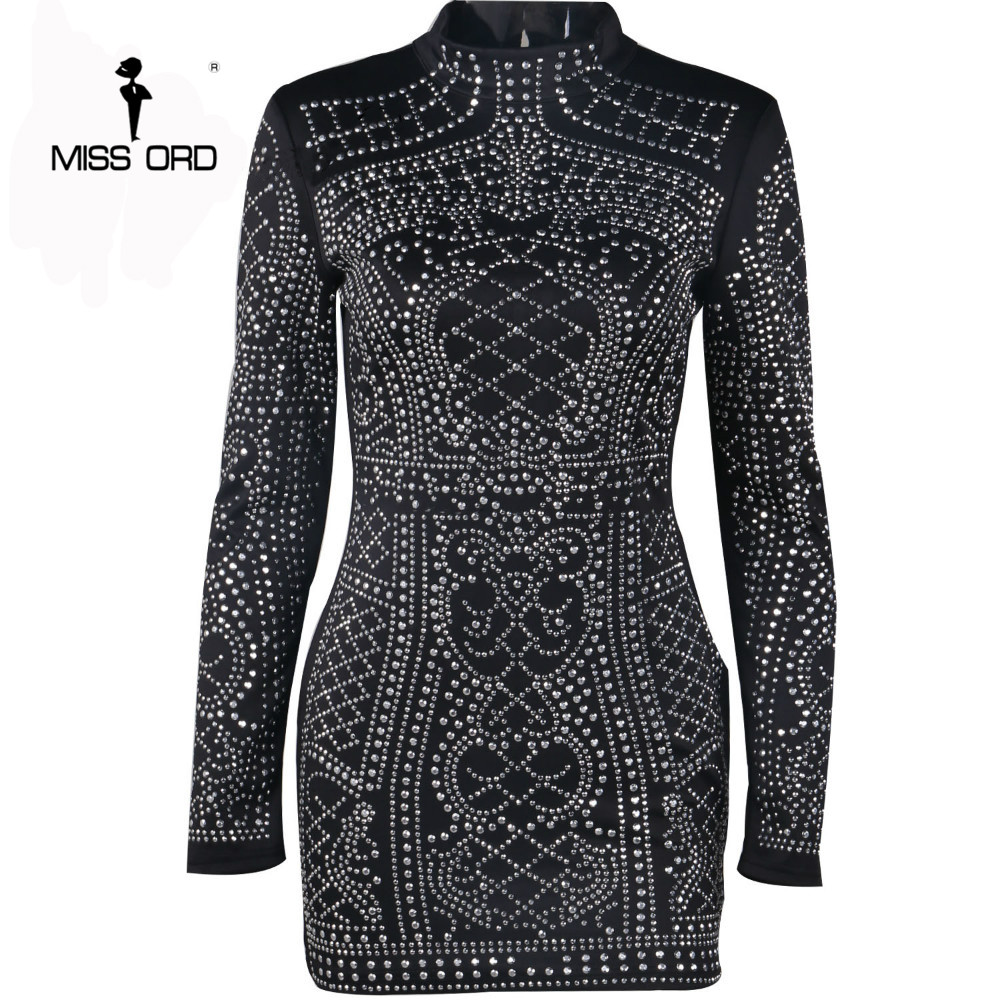Free Shipping 2018 Sexy Geometric retro Rhinestone high-necked long-sleeved bodycon  tight dress party dress FT2838