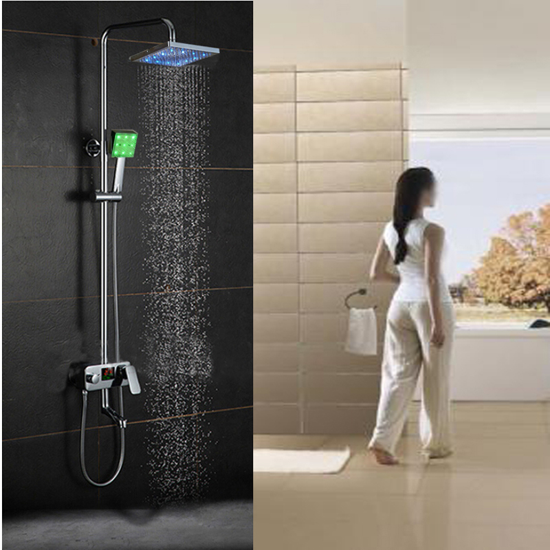 Wall Mounted LED Rain Shower Head Tub Spout Display Temperature ...