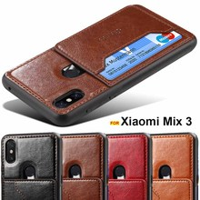 for Xiaomi Mi Mix 3 Mix3 case Luxury Leather card holder Car