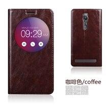 Оригинал aimak натуральная кожа смарт окно флип стенд cover case для asus zenfone 2 ze551ml 5.5 »luxury мешок мобильного телефона