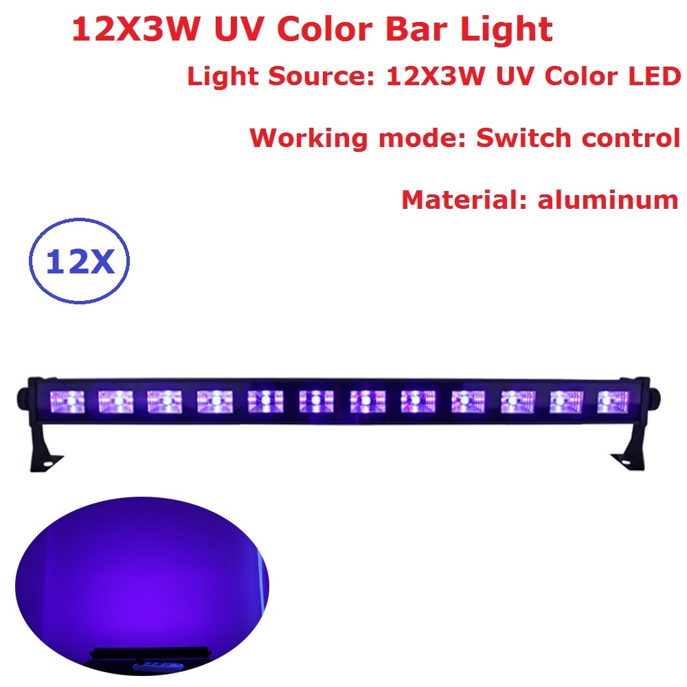 High Power 12LEDs 3W Led Bar Black Light UV Purple LED Wall Washer Lamp Landscape Wash Wall Lights For Indoor Entertainments 9ledx3w uv wall washer led stage bar light for outdoor indoor decoration