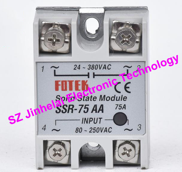 New and original FOTEK Single-phase AC solid state relay  SSR-75AA  75A   24-380VAC   80-250VAC 100% new and original fotek photoelectric switch a3g 4mx mr 1 free power photo sensor
