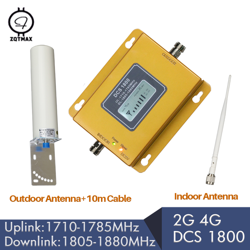 ZQTMAX 2g 4g LTE 1800MHz Cell Phone Signal Repeater GSM 1800 Booster 4G Network Mobile   Amplifier + Antenna