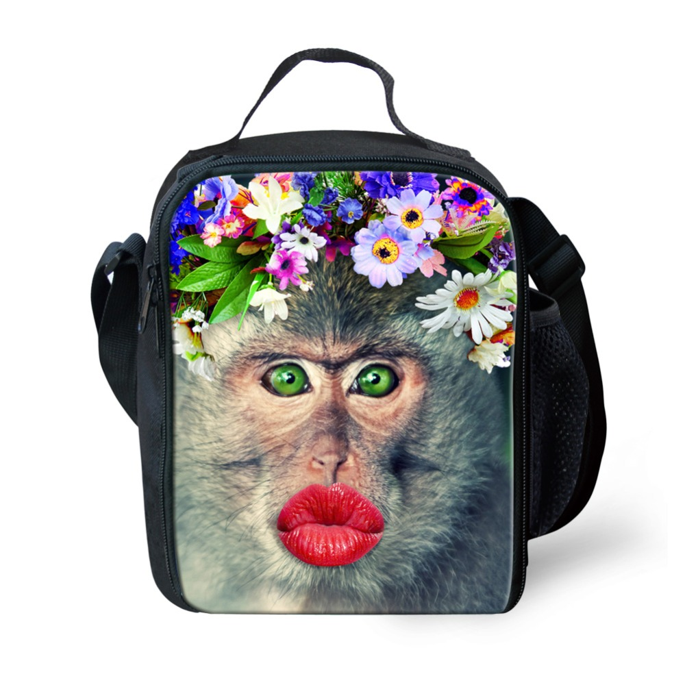 WHOSEPET Fashion Portable Insulated Lunch Bags 3D Monkey Printing Spring Tour Picnic Bags for Kids Shoulder Cooler Bags Totes