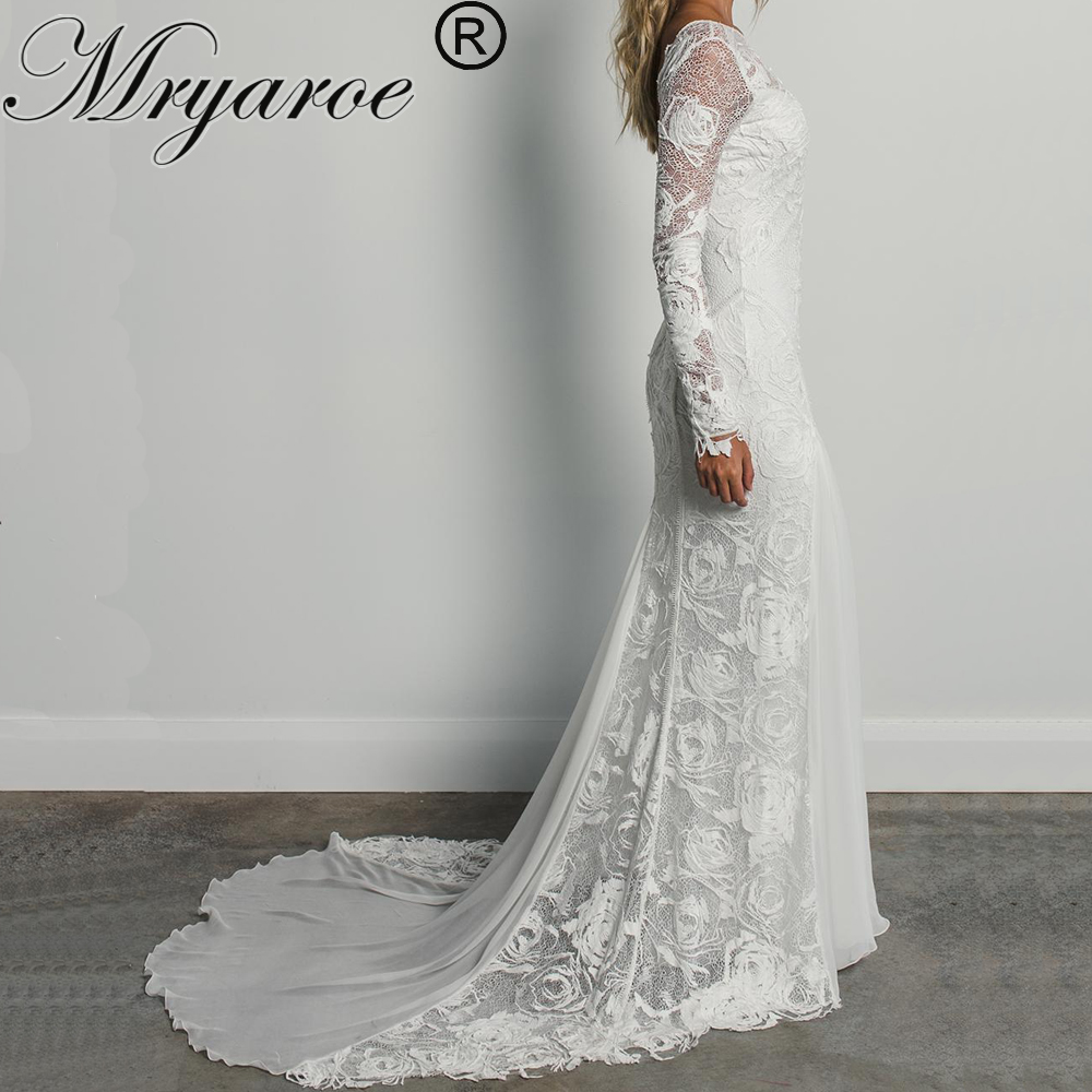 Mryarce Unique Bride Classic Elegance Rose Lace Long Sleeves Wedding Dress Bohemian Chic Open Back Bridal