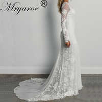 Mryarce Unique Bride Classic Elegance Rose Lace Long Sleeves Wedding Dress Bohemian Chic Open Back Bridal Gowns