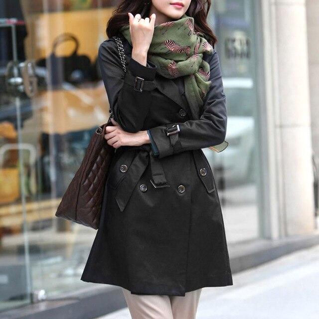 Весна Осень Пальто Женщин Тонкий Двубортный Мд-долго Новая Мода Плащ Ветровка Женщин Abrigos Mujer Polerones Пояса