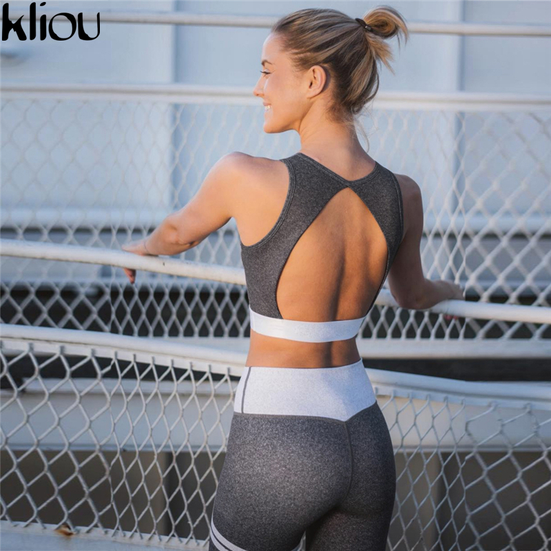 Kliou 2017 NEW Fashion Fitness Crop Top Back Hollow Out And Legging Sets Femme Printed 2 Piece Set Striped  Workout Tracksuit