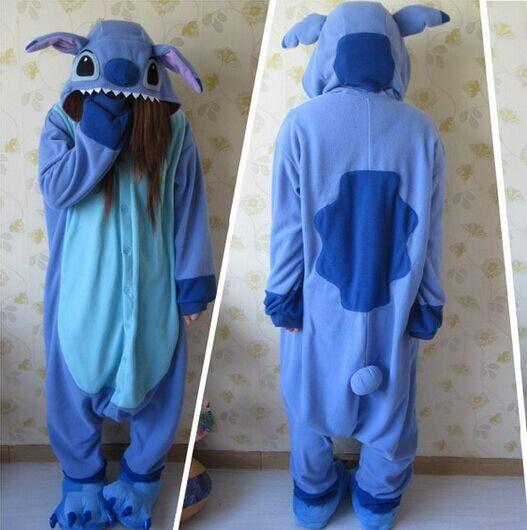 44e05571e472 Designer Kawaii Anime Animal Blue Lilo Stitch Pajamas Adult Unisex Women  Men Onesie Polyester Polar Fleece One Piece Sleepwear