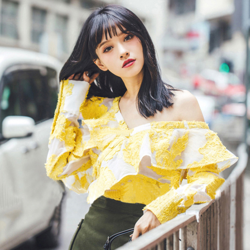 OFTBUY women blouses 2017 korean new summer shirt yellow Dobby Ruffles off shoulder top lace blouse