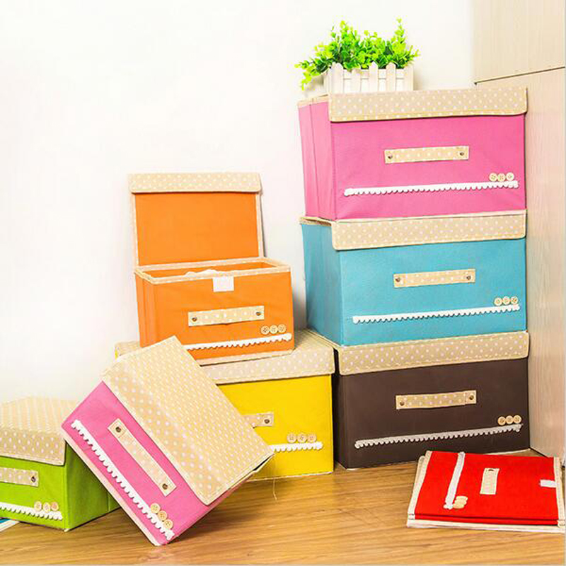 Folding Lovel Pattern Cloth Storage Boxes Nonwoven Fabric Organizer Bag  Large Utility With Cover 2 Sizes ...
