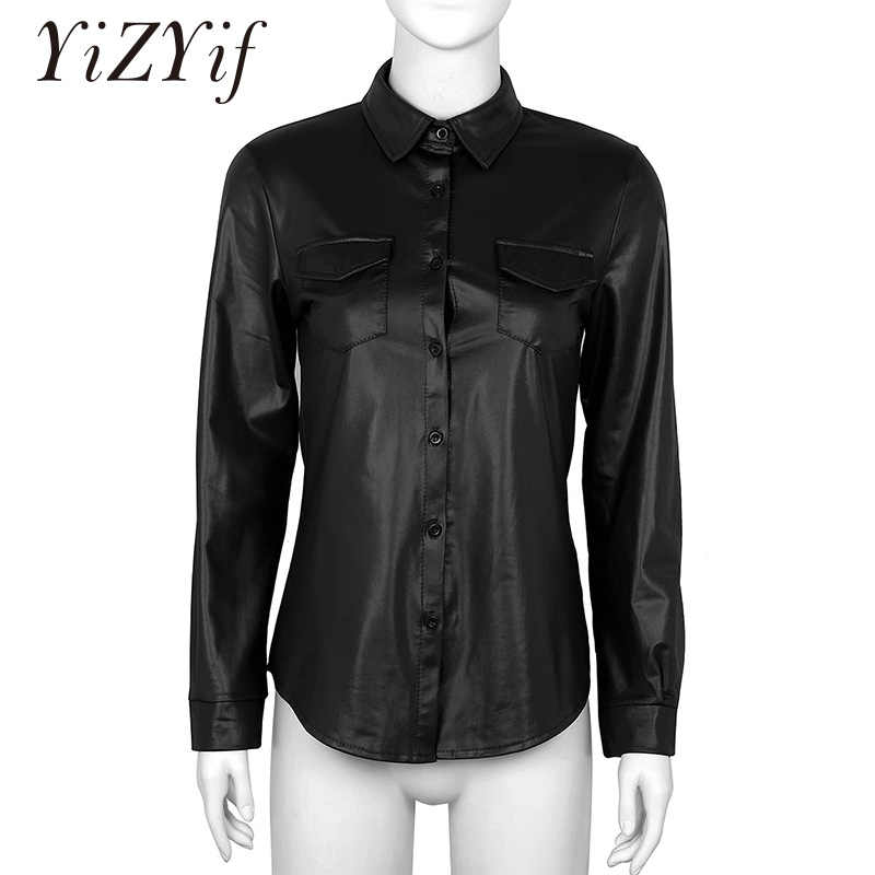 YiZYiF Womens Sexy Shiny Metallic Shirt Clubwear PU Leather Long Sleeves Pocket Button Down Nightclub Styles Blouse Shirt Top