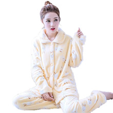 2018winter new pajamas set for women coral fleece cardigan + trousers 2 piece home clothing suit warm thick flannel pijama mujer