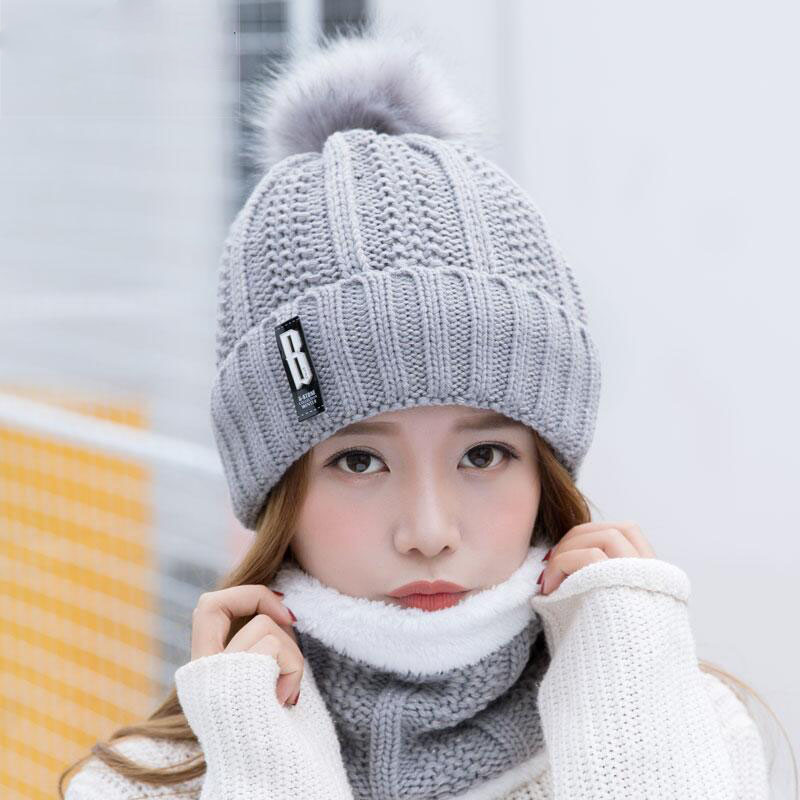 Winter Women Hat Plus Velvet Thickening Knitted Hats Scarf Hat 2 Pieces Set Thick Balaclava Ski Cap Skullies Beanies Female Cap