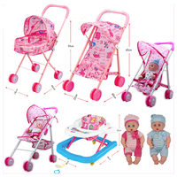 Baby Educational Pretend Play Folding Baby Stroller Toys with Dolls Walkers Umbrella Pushchair Pram Furniture Toys Set Gift