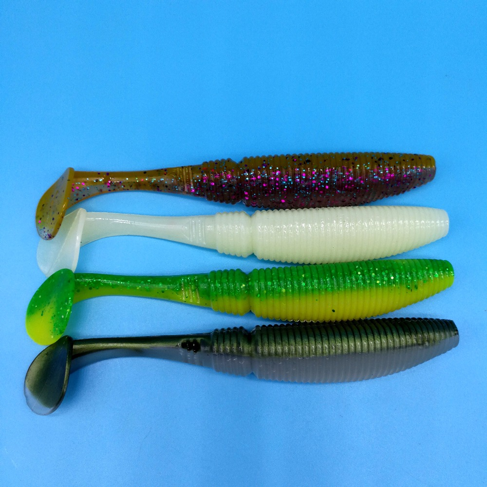 NOEBY 4PCS LOT SW5019S Big fishing lure 27 5g 15cm 4colors T tail soft bait double color Silicone Bait Isca Artificial Leurre in Fishing Lures from Sports Entertainment