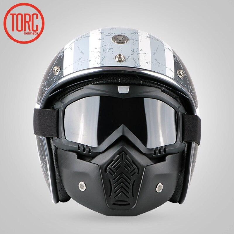 Casque Vintage TORC T57 moto rcycle 3/4 casque visage ouvert Cool crâne moto casco moto cicleta Capacete avec visière intérieure - 2