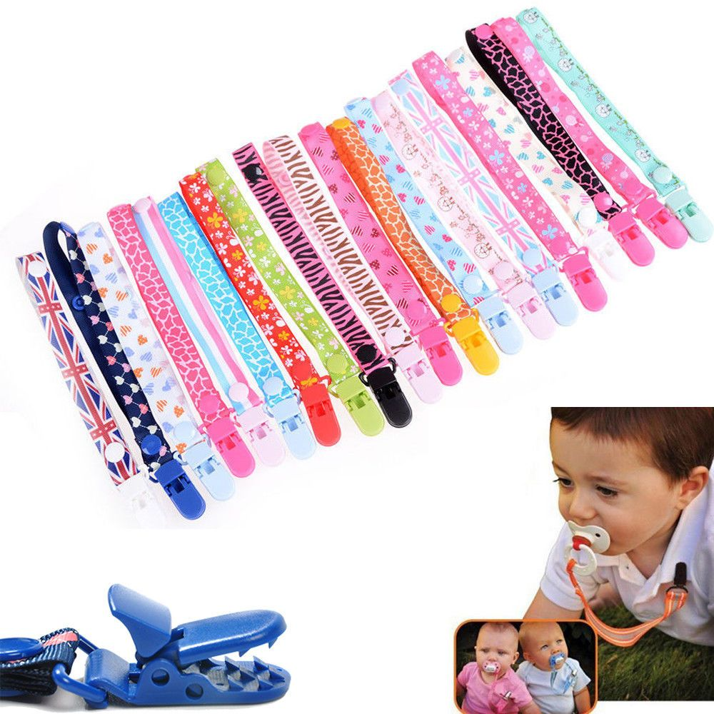 1pcs Baby Pacifier Clips Chain Soother Nipple Ribbon Clip Baby Shower Decoration