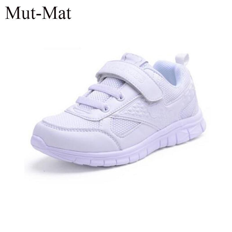Sepatu anak-anak, Siswa sekolah sneakers putih, Kulit sepatu olahraga pemuda, Anak laki-laki dan perempuan putih bernapas sepatu lari