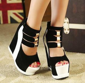 Image 5 - חדש פלוק קרסול מגפי נעלי נשים סנדלים סקסי הולו גבוהה מדרון עם נעליים אחד פה דגים עבה טריזי תחתון קצר מגפיים