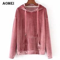 Women Hoodie Velour Long Sleeve Casual Girls Fashion with Hat New Arrival Spring Tops Loose Daily Wear Clothing Pink Navy Blue