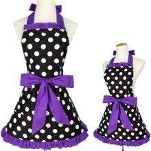 XiuMood Moher Und Tochter Schürze Anzug Baumwolle Schwarze Punkte Schnüren Küche Kochen Niedlich Schürzen Für Frauen Kinder