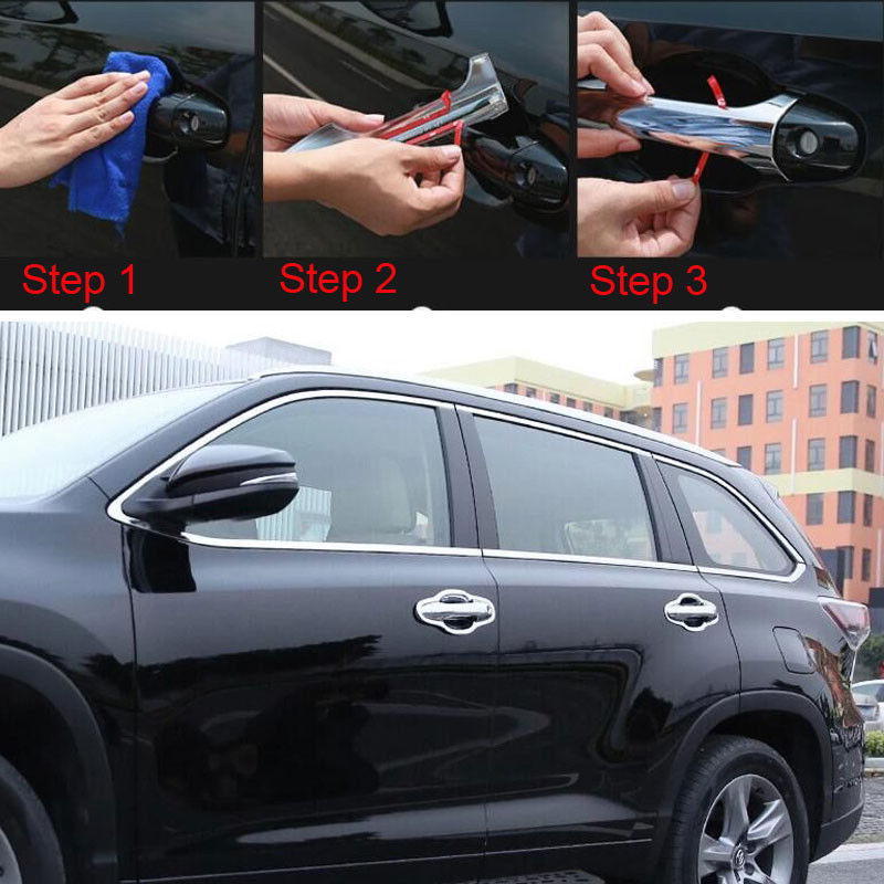 8Pcs ABS Chrome Auto Car Door Catch Handle Cover Molding Trim Decoration Styling Sticker Fit For Toyota Highlander 2015