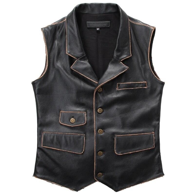 2019 Vintage noir hommes véritable biker 'cuir gilet simple boutonnage Slim Fit court peau de vache équitation en cuir gilet livraison gratuite
