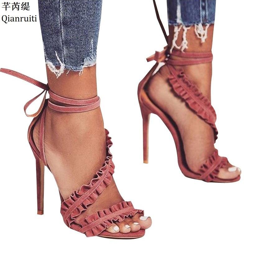 Qianruiti Rome Style Lace-Up High Heels Sandals Red Green Faux Suede Stiletto Heels Women Shoes Open Toe Ankle Starp Women PumpsQianruiti Rome Style Lace-Up High Heels Sandals Red Green Faux Suede Stiletto Heels Women Shoes Open Toe Ankle Starp Women Pumps