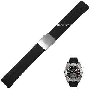 Ремешок для часов T-Touch II, Черный Силиконовый каучуковый ремешок для T013420A или T047420A, 20 мм, 21 мм, T013420A