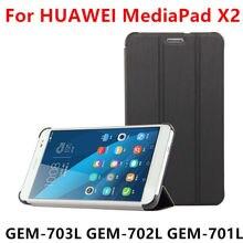 Caso protector de la cubierta elegante de cuero de la pu para huawei mediapad x2 tablet para huawei honor x2 gem-703l gem-702l gem-701l protector