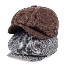 Moda 2017 gorra octogonal hombres Newsboy sombreros boina sombrero Otoño  Invierno sombreros para hombres Color café d15874a699e