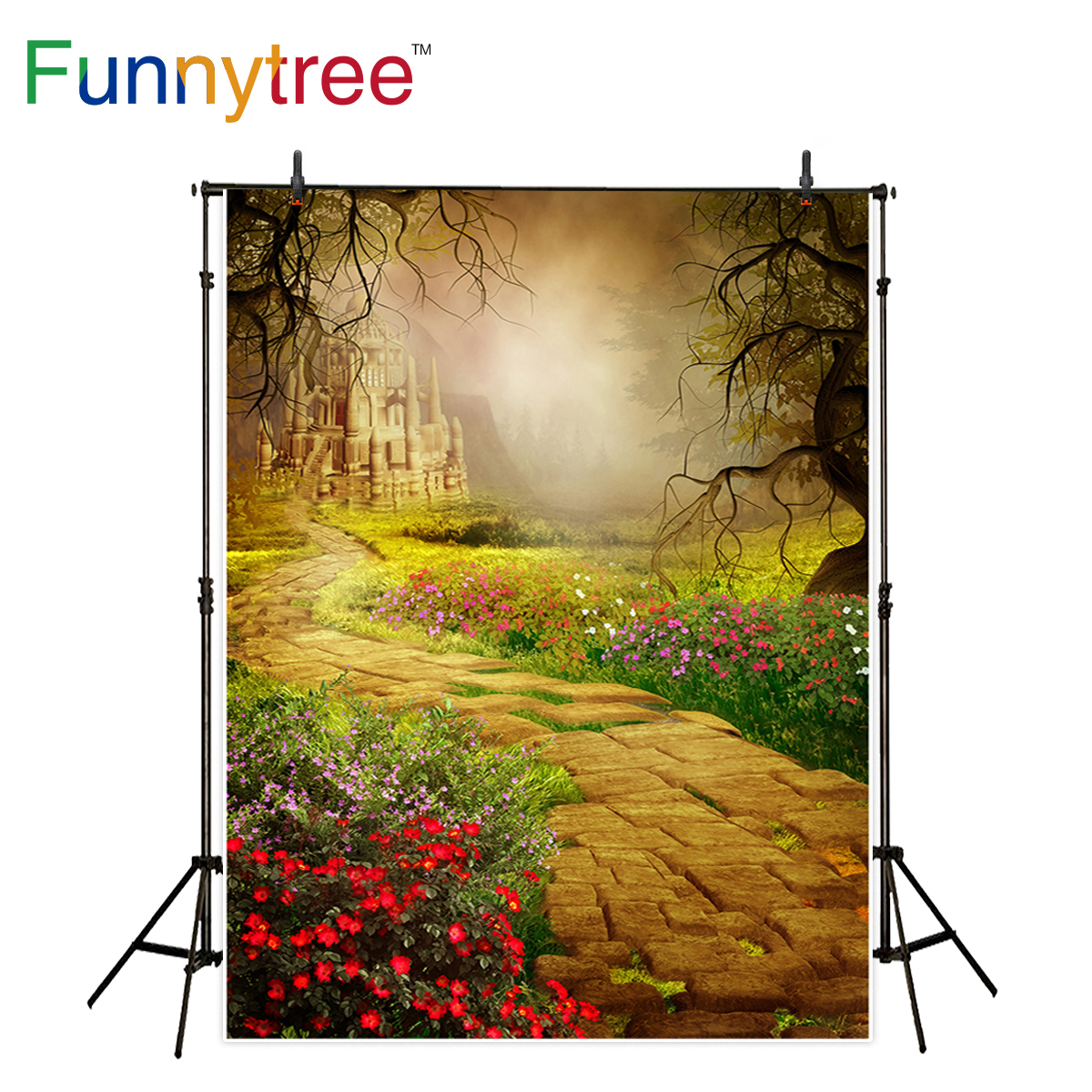 Funnytree old castle photography backdrop scenery road flower vintage background photo studio prop photocall new realflame электрический камин old castle