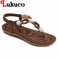 2018 Lukuco Women Bohemian Sandals Flat Heel CN Large Size 39 40 41 42 Cut Out