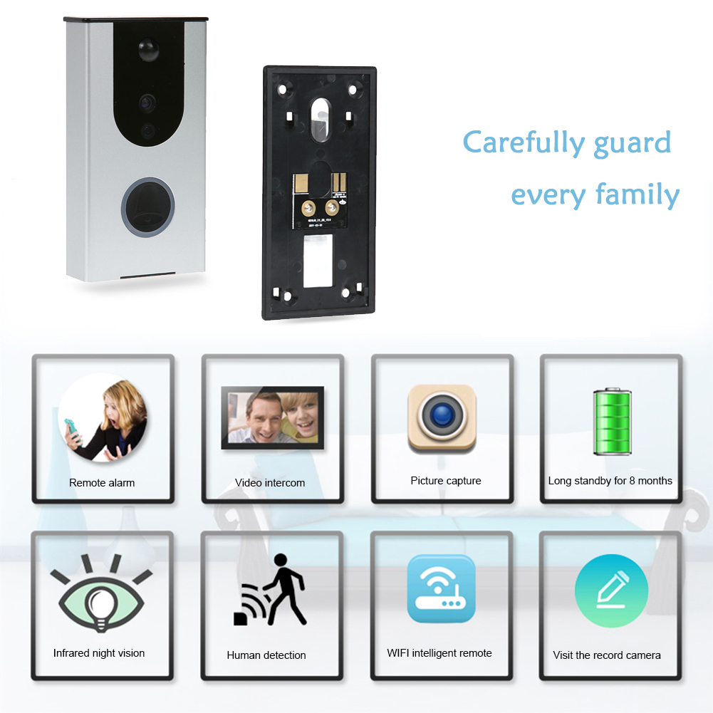 Waterproof Smart wifi Video Doorbell Infrared Night Vision Mobile remote intercom PIR Mobile phone Burglar Alarm kinco wifi remote control night vision video doorbell hd waterproof dtmf motion detection alarm smart home for smartphone