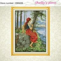 を見て海国家女の子ホーム壁ペイントdiyクロスステッチ11ctカウントdmcクロスステッチキット刺繍家の装飾針仕