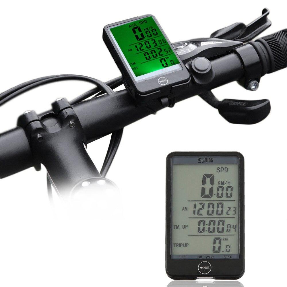 Sunding 29 funciones Wireless ciclismo bicicleta ordenador velocímetro odómetro cronómetro con batería