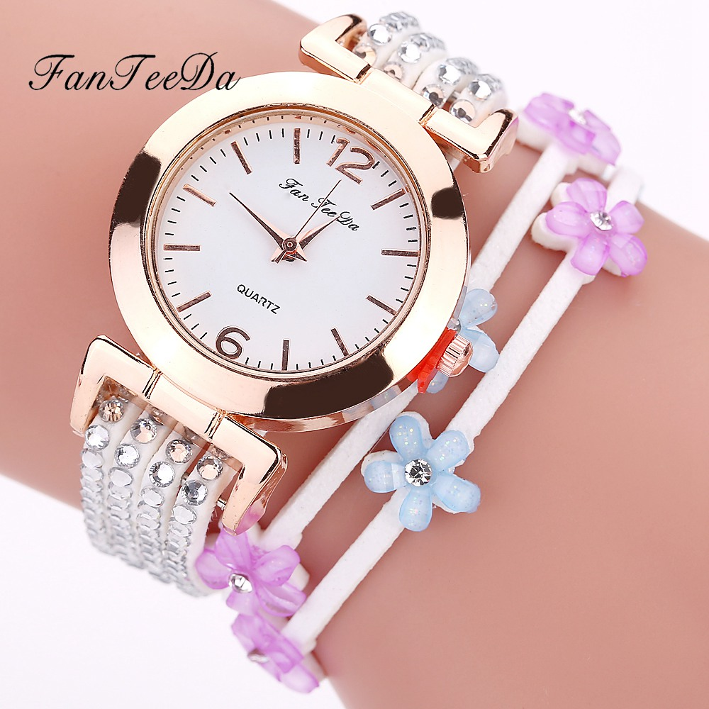 Fanteeda Brand Luxury Gold Watches Fashion Flowers Strap Dress Bracelet Clock Quartz Wristwatch Ladies Watch Relogio Feminino