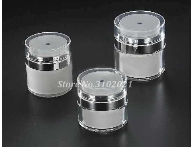 10pcs lot 15g 30g 50g Double Layer Airless Facial Cream Jar Pot Empty Cosmetic White cMask