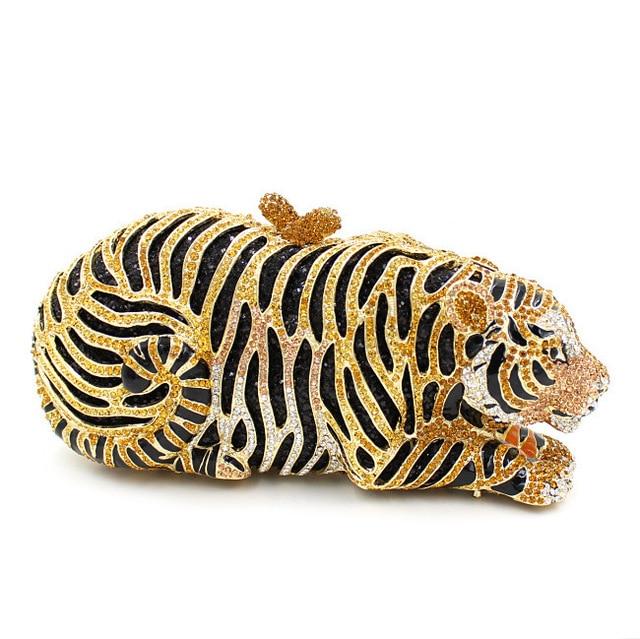 Beta Tara Animal Tiger Shaped Golden Clutch Bag Uk Crystal Evening Bags