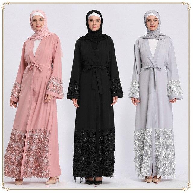 Fashion Long Muslim Cardigan Women Sequins Femme Turkey Islamic Clothing Abaya Kaftan Hijab Dress Robe Caftan Dubai Arab Outwear