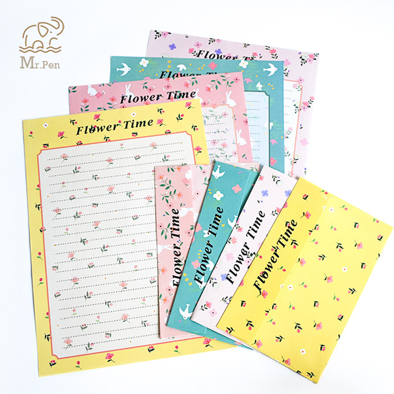 12 Sheets Letter Paper 6pcs Envelope Set Kawaii Flower Writing Paper Envelope Letter Pad Drawing Greeting Card With Envelopes