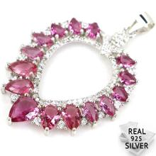 Guaranteed Real 925 Solid Sterling Silver 3.7g Classic Pink Tourmaline CZ Pendant 40x27mm