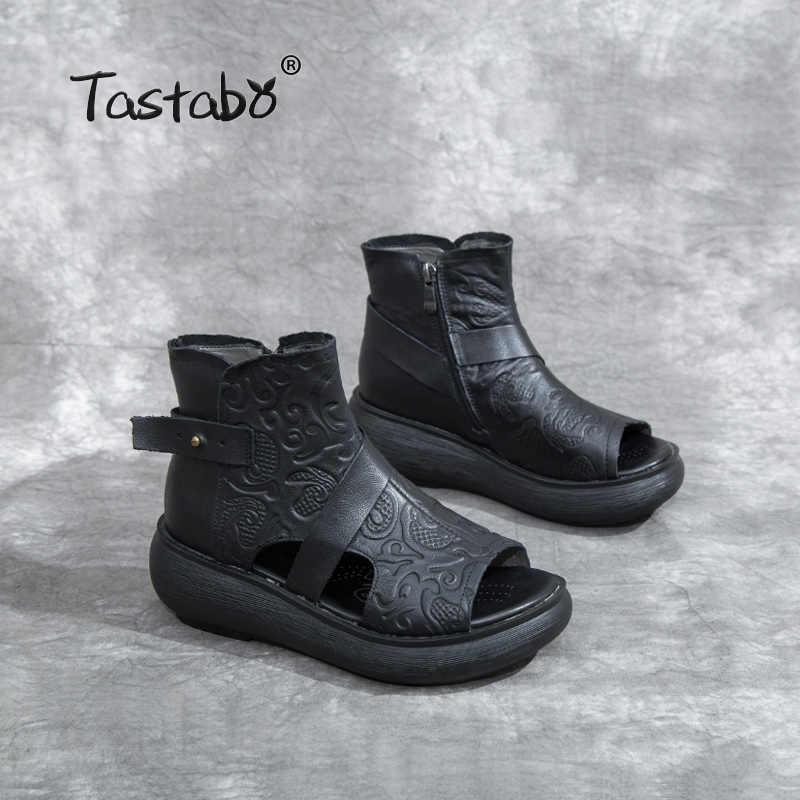 Tastabo 100% Hakiki Deri Bayan sandalet Yan fermuar üst baskı tasarım aşınmaya dayanıklı taban Siyah kahverengi rahat tarzı S5667