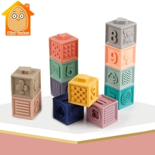 Baby Grasp Toy Soft Rubber Teathers Building Blocks for Kids Sensory E