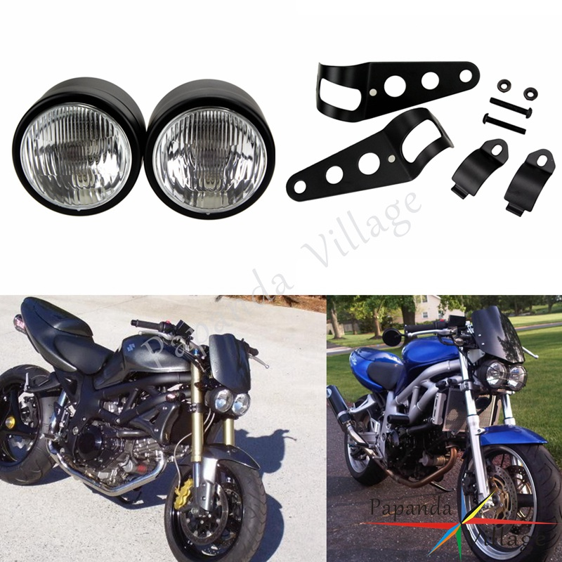 Papanda Motorcycle Dual Sport Black Twin 12V Headlight Billet Head Lamp W/Mount Bracket Custom For Harley Dyna Bobber Choppers