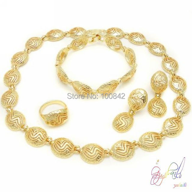 free shipping 22k gold jewelry set turkey gold filed jewelry