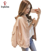 2017 New Fashion Spring Autumn Women Faux Soft Leather Long Sleeve Coat Zipper Design Pink Black